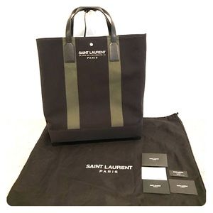 YSL black and khaki tote bag with leather